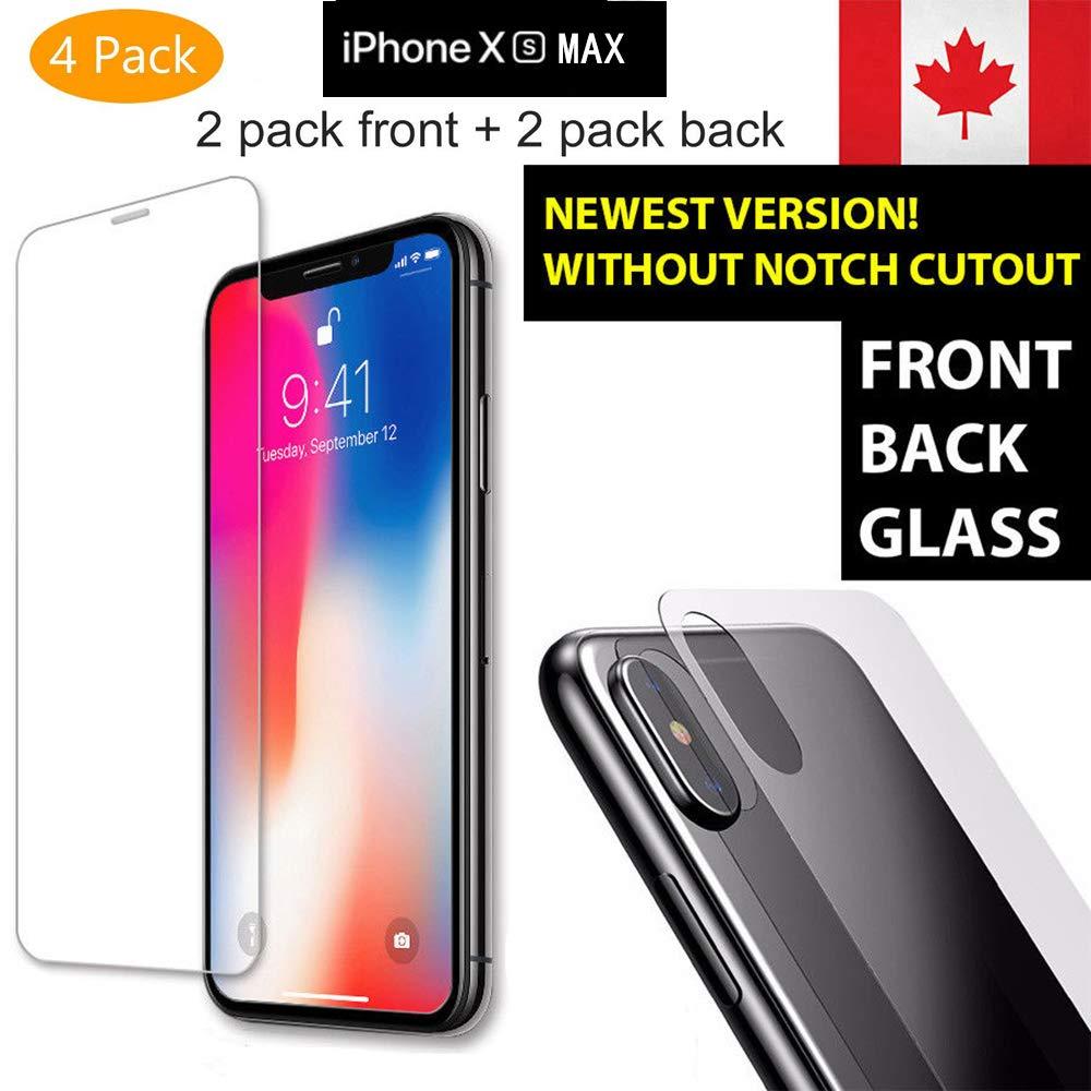 4パックiPhone XS MAXスクリーンプロテクター、NXET iPhone XS MAXフロントバック強化ガラススクリーンプロテクター[気泡フリー] [9H硬度] [アンチスクラッチ] [アンチバブル] [高精細] HDクリアフロントバックスクリーンプロテクター   B07HNV8FHB