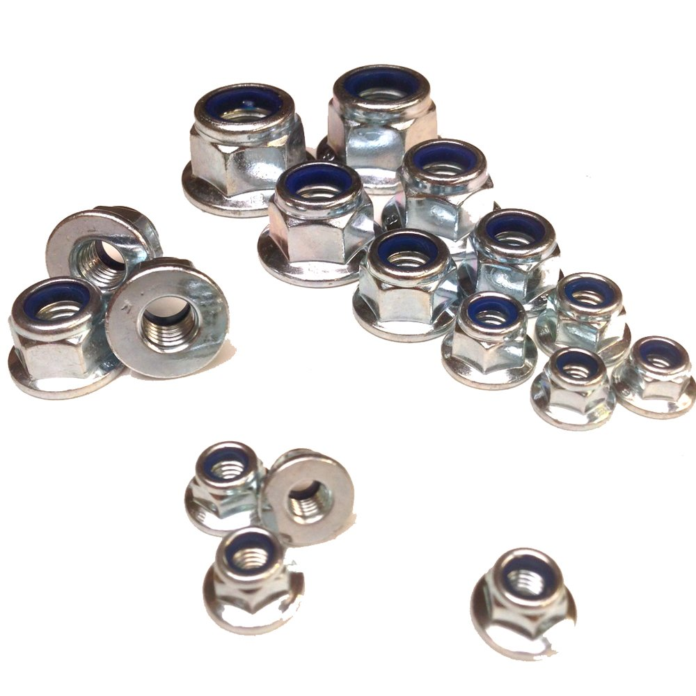 PACK OF 100 x M6 ZINC NYLOC INSERT FLANGED NUTS Falcon Workshop Supplies Ltd