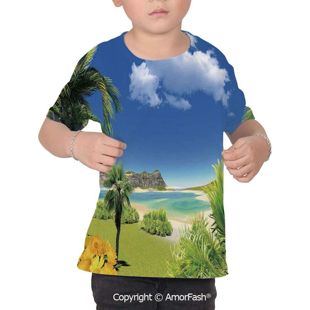 PUTIEN Tropical All Over Print T-Shirt,95/% Polyester,Childrens Short Sleeve T-ShirtPar