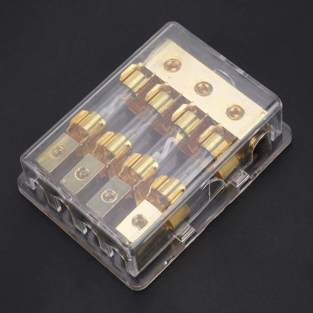 veh/ículos Portafusibles para autom/óvil audio de bloque de fusibles est/éreo para autom/óviles para camiones automotrices barcos caja de portafusibles de 6 v/ías 60 V 12V 60A con tubos de fusibles AGU