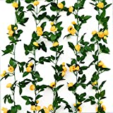 2Pack(13.8Feet) Artificial Flowers Roses Vine Fake Rose Garland Plant for Home Hotel Wedding Party Garden Craft Art Decor (Yellow)