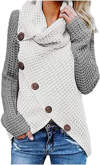 NUSGEAR Chaqueta de Punto Cárdigan Elegante Cuello Alto Moda Suéter Chaquetas de Fiesta Rompevientos Suelto Ropa Mujer Rebeca Casual Sudadera Patchwork Outwear Abrigo Capa Parka Tops vpass