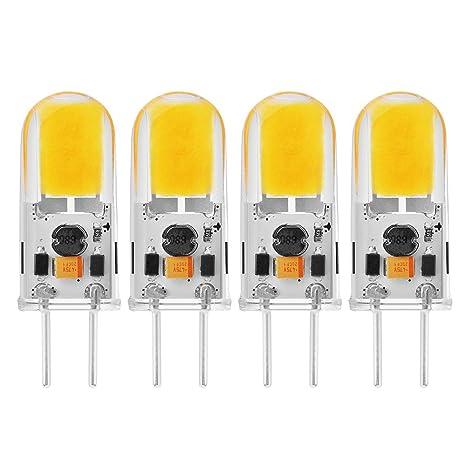 Sunix 4stk 5W GY6.35 COB LED Leuchtmittel, 270-300LM, Dimmbar, Warmweiß, 3000K, 360 Grad Strahlwinkel, Kristall Scheinwerfer