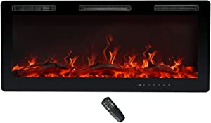 C-Hopetree Electric Fireplace, Recessed, Wall Mounting or Freestanding Portable Room Heater, 750/1500w incl Remote, 42 Inch Wide