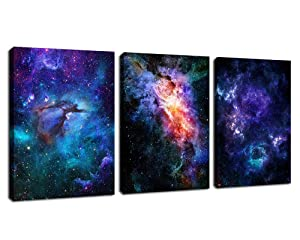 "arteWOODS Canvas Wall Art Outer Space Fantastic Artwork Nebula Galaxy Canvas Art Contemporary Artwork Picture Prints for Home Wall Decor 12"" x 16"" x 3 Panels"