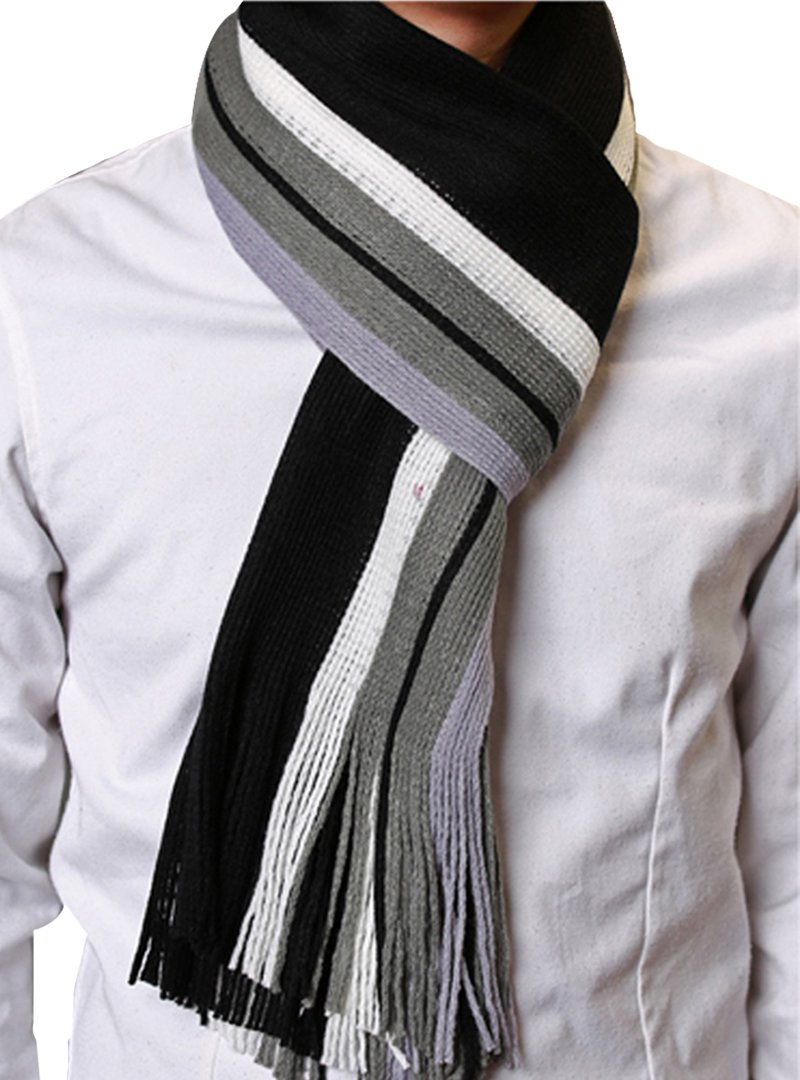 Felice Men's Warm Knitted Winter Scarf Colorful Striped Long Scarf With Fringe (black)