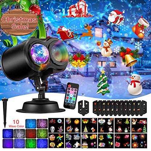 Diditech Projector, 2 in 1 Ripple Ocean 12 Slide Patterns Led Flashlight, Waterproof Outdoor/Indoor Landscape Decoration Lighting for Christmas, Halloween, Multicolor