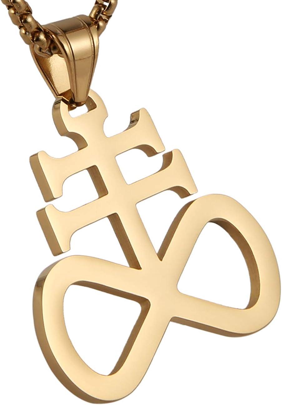 HZMAN Unisex Stainless Steel Church of Satan Satanic Leviathan Cross Pendant Necklace,Religions Jewelry