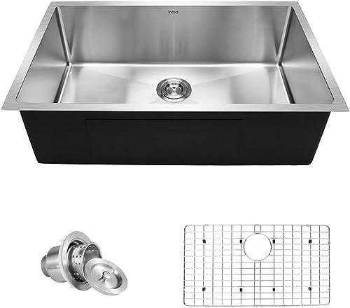 Inoxs 32 x 19 x 10 Undermount Single Bowl 16 Gauge Handmade Stainless Steel Kitchen Sink I-US3219