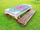 Ambesonne Mandala Outdoor Tablecloth, Round Floral Starry Pattern with Soft Aqua Color Spiritual Meditation Theme, Decorative Washable Picnic Table Cloth, 58 X 84 Inches, Pink Blue White