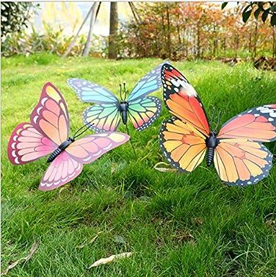 MAQY Simulación de 50 Piezas de Decoraciones de jardín de Mariposas, Decoraciones de Mariposas de terraza, Decoraciones de Mariposas Impermeables para macetas de césped de Interior y Exterior: Amazon.es: Jardín