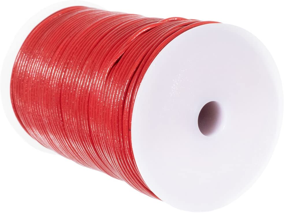 5 White, 25 Yards 10 Craft County 2mm Round Leather Cord 25 or 50 Yards or 328 Feet