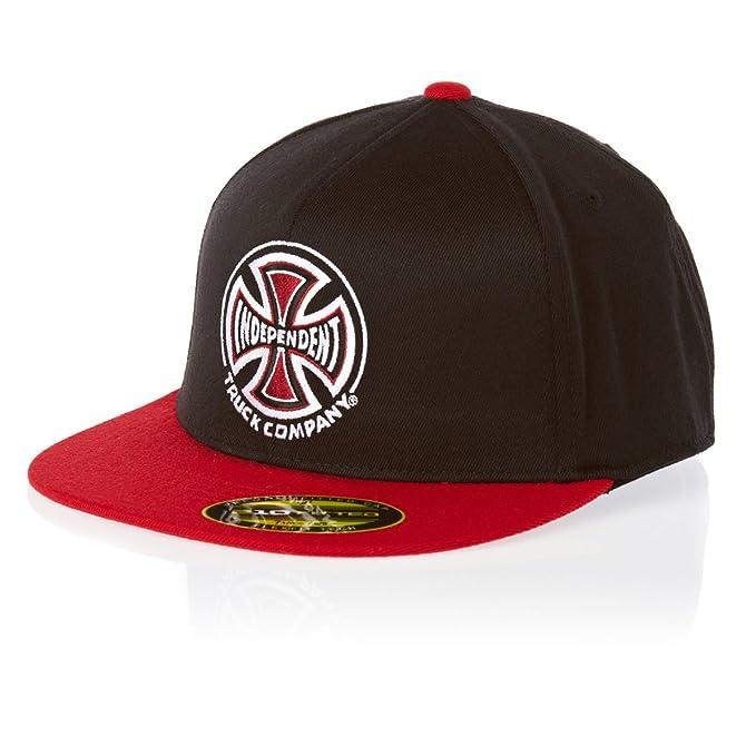 Independent - Gorra de béisbol - para hombre Negro negro/rojo S/M ...