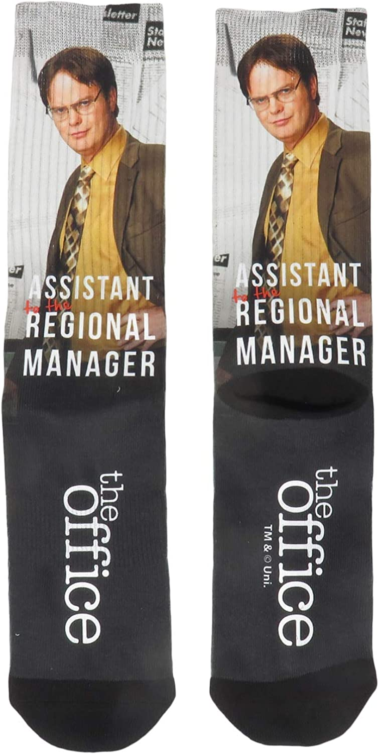 The Office Dwight Schrute Assistant to the Regional Manager Sublimated Crew Socks