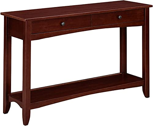 MUSEHOMEINC Wood Classic Console Table,with 2-Drawers and 1- Shelf,Curved Wood Leg,Round Metal knobs,Dark Espresso Finish