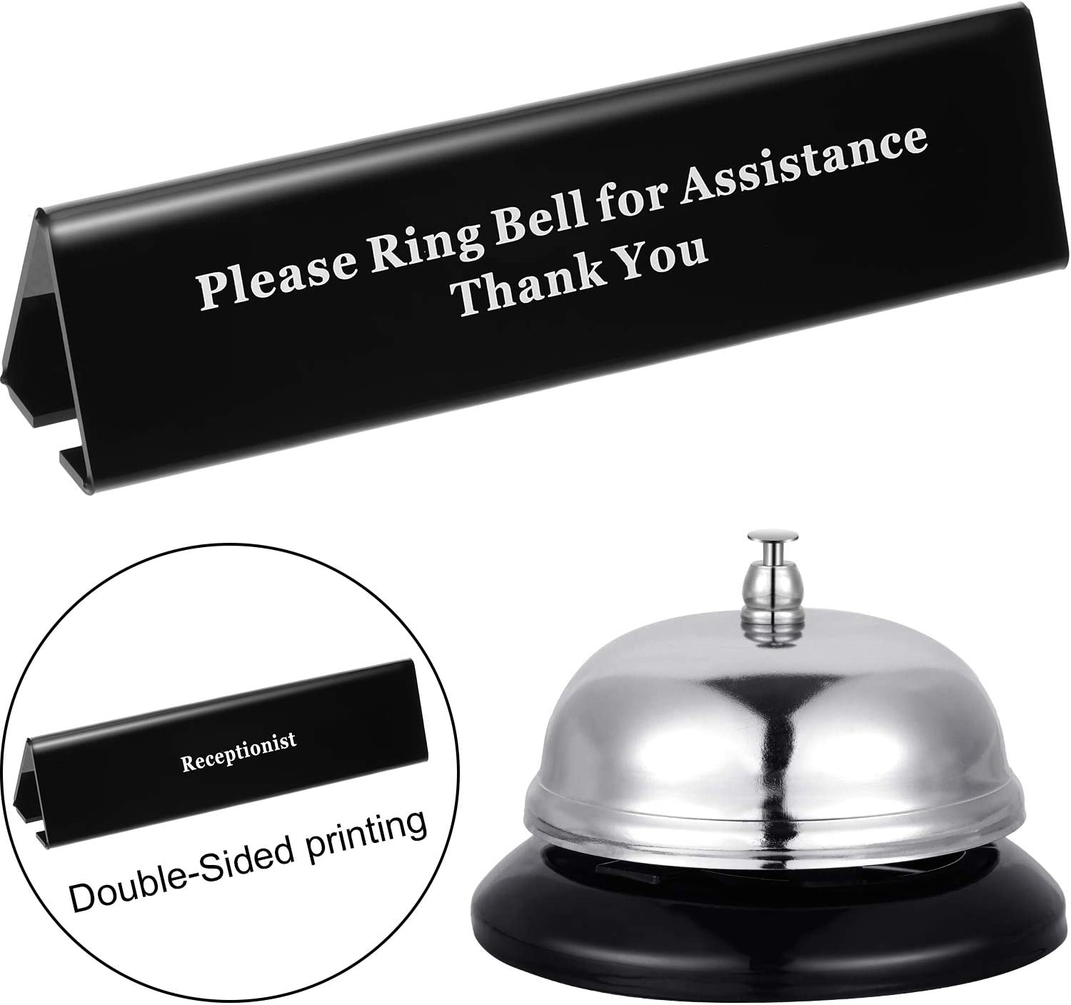 Desk Service Dinner Bell Metal Construction Call Bell and Double-Side No Receptionist Sign, Please Ring Bell Sign for Service Assistance for Hotels, Schools, Restaurants, Reception Areas, Hospitals