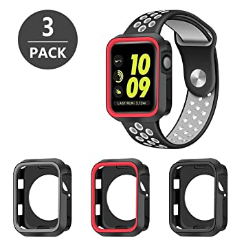 SYOSIN Funda Apple Watch 42mm [3 Unidades] Carcasa de Silicona Suave Completa Protectora Cubierta para Apple Watch 42mm Serie 3 / Serie 2 / Serie 1