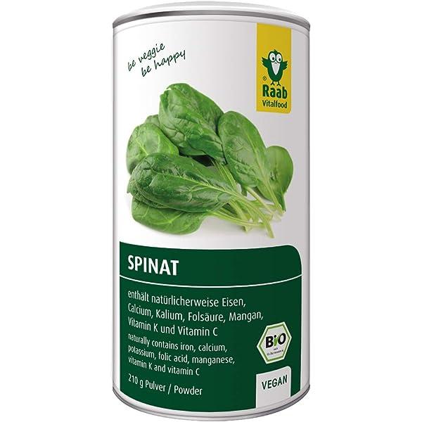 Raab Vitalfood Bio-Polvo de espinacas orgánico, 100 ...