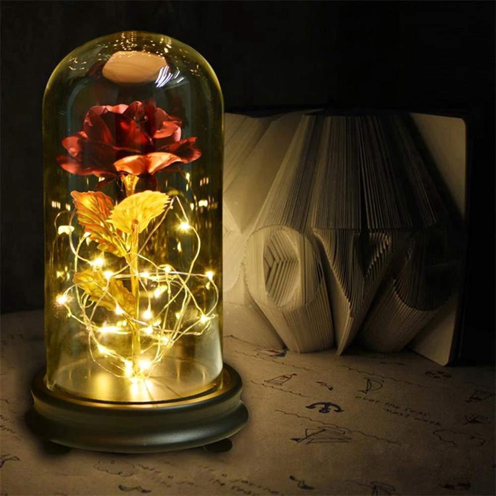 LED Lumi/ère Fleur /Éternelle Plaqu/ée Or 24K avec Cloche en Verre et Base en Bois pour Cadeau de Mariage et la Saint-Valentin Rose /Éternelle Bleu