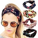 DRESHOW 4 Pack Headbands Vintage Elastic Printed Head Wrap Stretchy Moisture Hairband Twisted Cute Hair Accessories, Black, Navy, Pink, Yellow, One Size