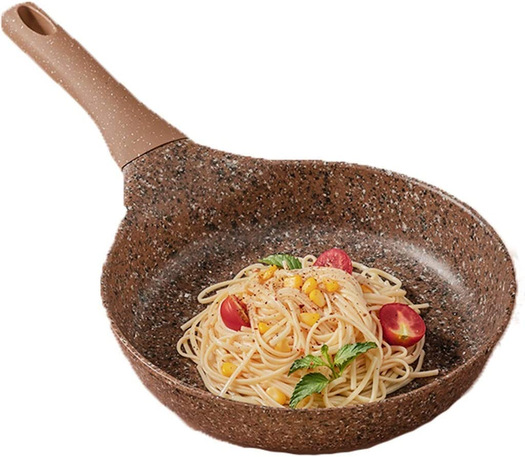Sartenes para chef Sartén antiadherente para el hogar, olla para carne, marrón, 26 cm, de uso general, para cocina de inducción, estufa de gas, estufa halógena y estufa de cerámica eléctrica, ideal pa