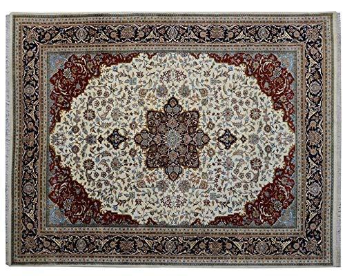 L' Atelier des Rugs Area Rug Handmade Kashan Design Corner/Medalian Pattern Ground Color Cream Border color Blue 100% Washable (11.2ft X 14.1ft)