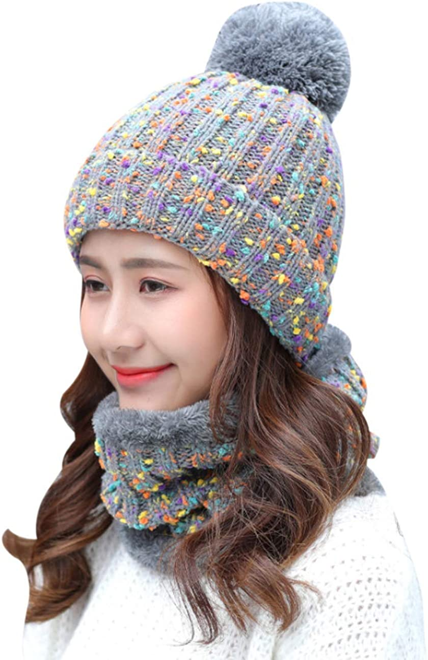 ACVIP Womens Wool Knit Pom Beanie Cap Neck Warmer Combo Set
