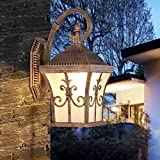 CGJDZMD Wall Sconce Europe Style Tetrahedral Outdoor Waterproof LED Wall Light with Frosted Glass Lampshade Do the Old Lamp Body Wall Lamp for Garden Aisle Door Lighting ( Color : Black )