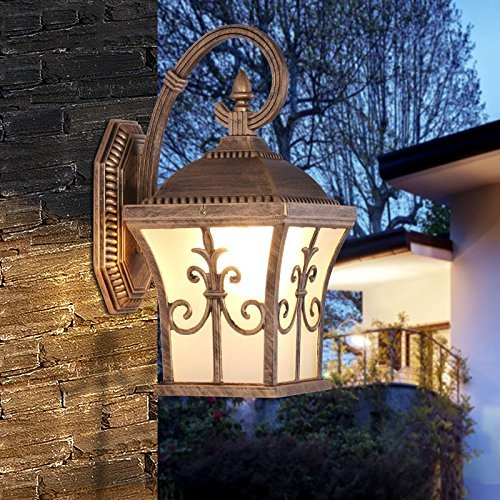 CGJDZMD Wall Sconce Europe Style Tetrahedral Outdoor Waterproof LED Wall Light with Frosted Glass Lampshade Do the Old Lamp Body Wall Lamp for Garden Aisle Door Lighting ( Color : Black ) by CGJDZMD