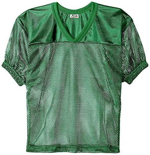 (Adams Youth Football Jerseys, Porthole Mesh Practice Jersey with Dazzle Shoulders and Elastic Sleeves, Kelly Green,)