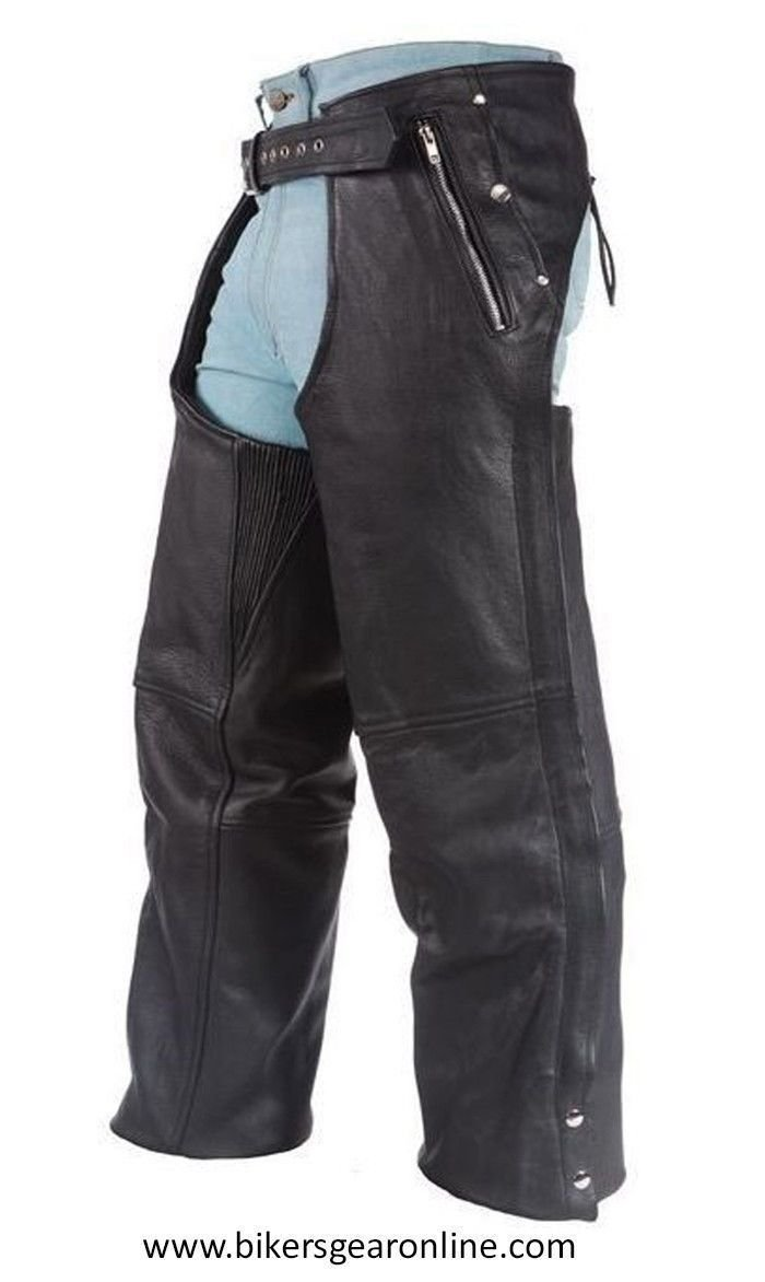3XL Regular MENS MOTORCYCLE BLACK LEATHER RIDING CHAP PANTS REMOVABLE LINER 4 POCKETS BLACK