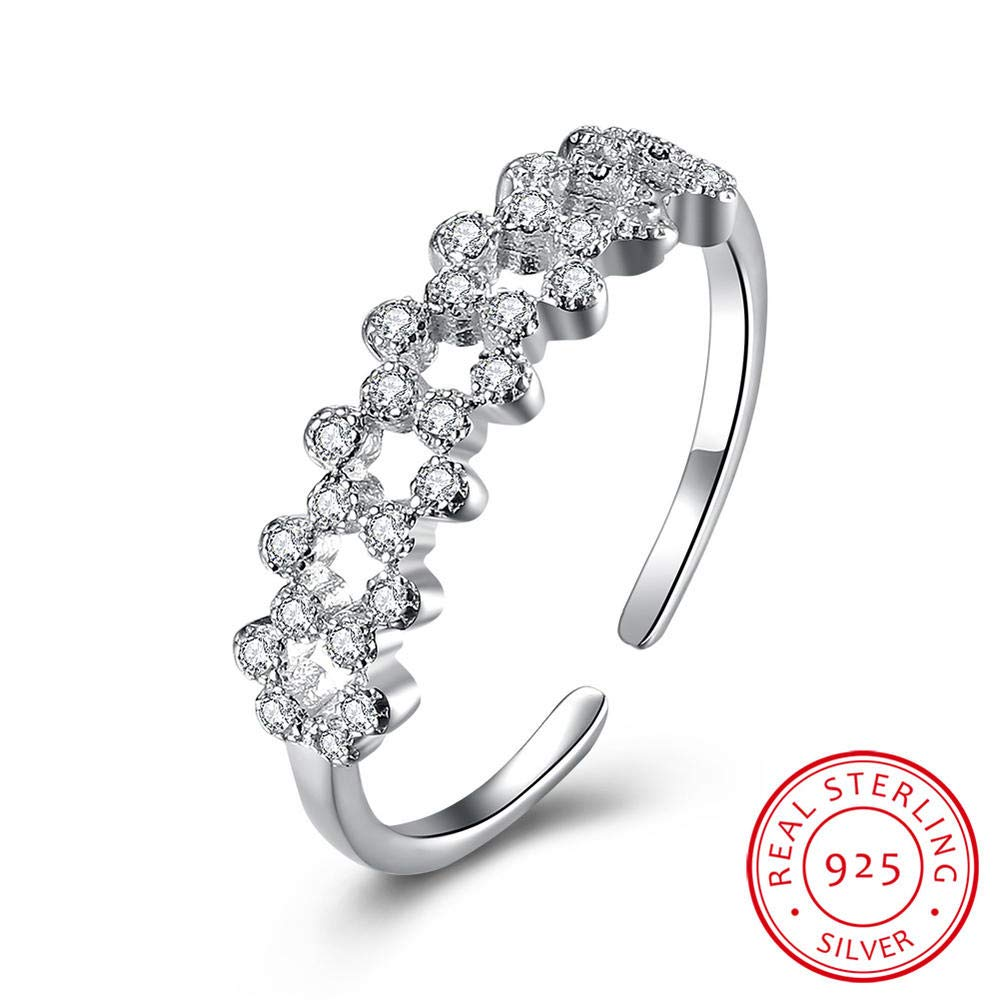 MOOKO Ring For Women S925 Sterling Silver Micro-Inlaid Zircon Opening Ring Expandable Open Rings Adjustable For Women Jewelry