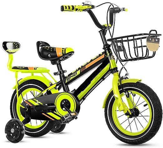 YUMEIGE Bicicletas Bicicletas con Rueda de Entrenamiento y Asiento Trasero, Bicicleta Infantil 12 14 16 18