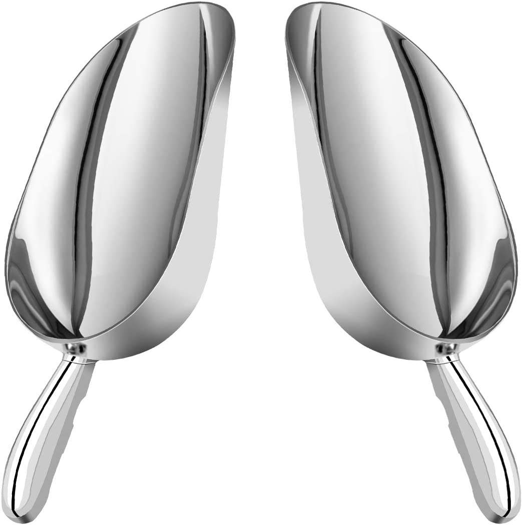 Goplus 2PCS Ice Scoop, 12oz Cast Aluminum Food Candy Scooper Flat Bottom, Perfect for Kitchen Bar Party Wedding, Set of Two (Silver)