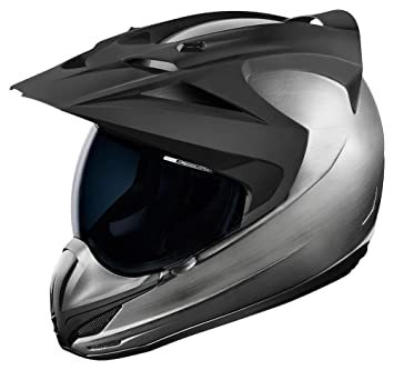 Icon Variant Quicksilver - Casco de moto, color plateado y negro
