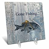 3dRose dc_123416_1 Gone Fishing White Wash Wood Look Beach Theme Art Desk Clock, 6 by 6-Inch Review