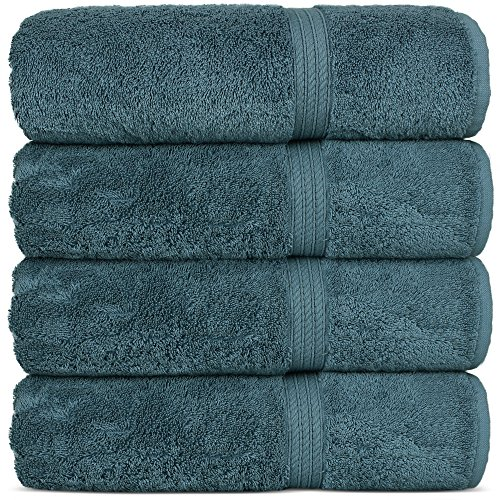 Superior Long-Stable Turkish Cotton 4-Piece Bath Towels, Eco-Friendly, (True Blue)