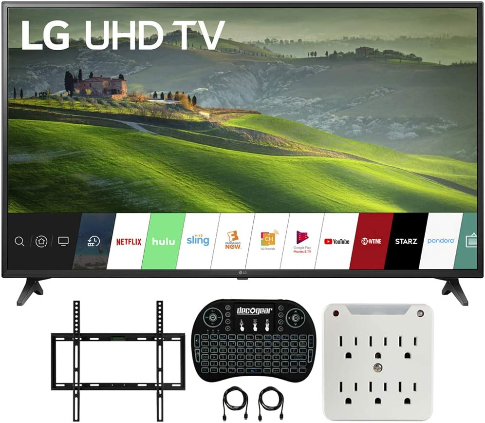 LG 75UM6970 75 Pulgadas HDR 4K UHD Smart IPS LED TV (2019) Bundle con Deco Mount Flat Wall Mount Kit, Deco Gear Wireless Backlit Keyboard y 6-Outlet Surge Adaptador con luz Nocturna: