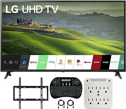 LG 75UM6970 75 Pulgadas HDR 4K UHD Smart IPS LED TV (2019) Bundle con Deco Mount Flat Wall Mount Kit, Deco Gear Wireless Backlit Keyboard y 6-Outlet Surge Adaptador con luz Nocturna: