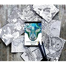 Adult coloring book post cards, hand drawn original art, perfect gift for art lovers