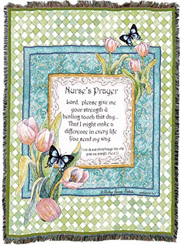 (Pure Country Weavers | Nurse's Prayer Woven Tapestry Throw Blanket with Fringe Cotton USA 72x54)
