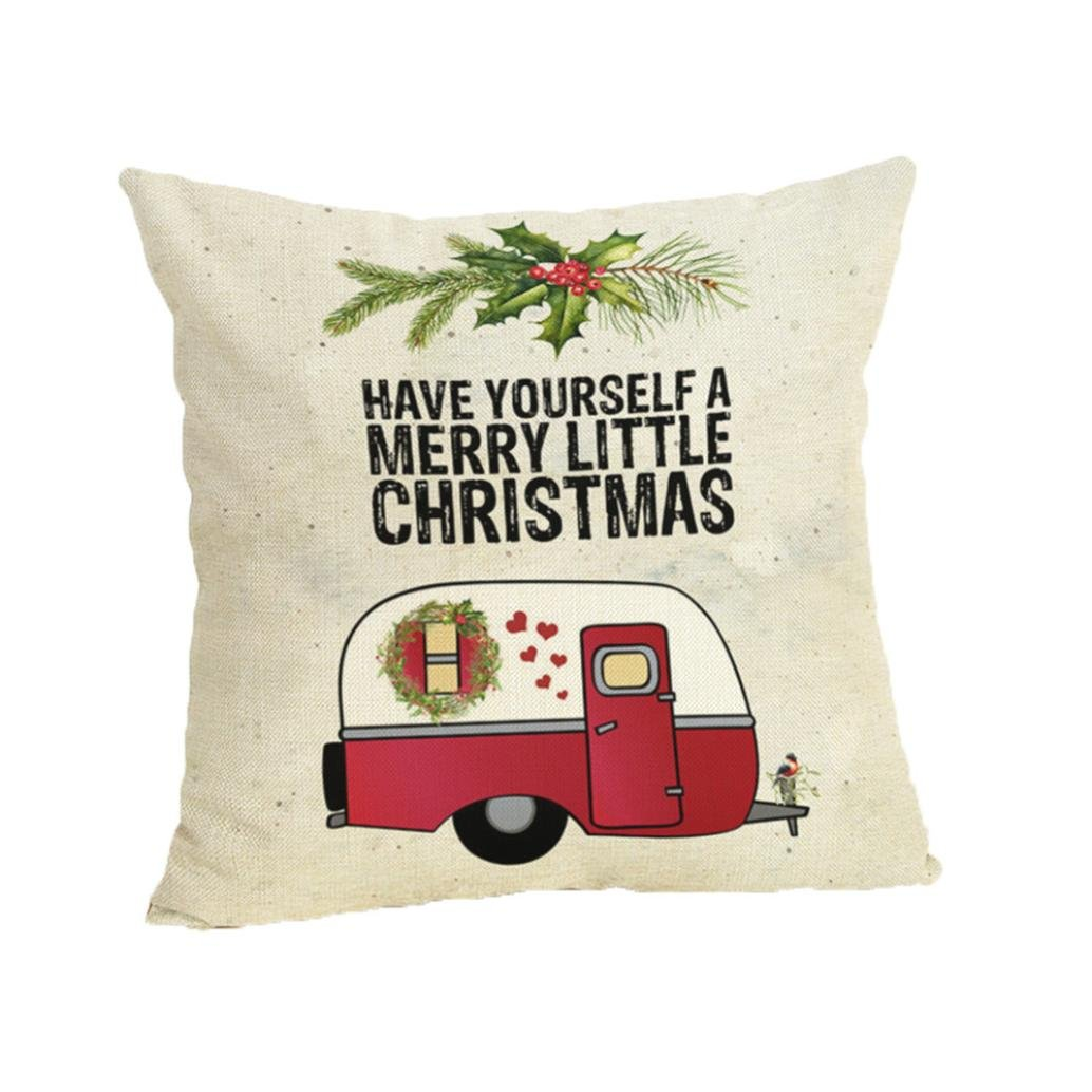 枕カバー、shybuy Flaxソファホーム装飾スロー枕ケースクリスマスデザイン面白いクッションカバー 45cmX45cm  F B07FLVP5NZ