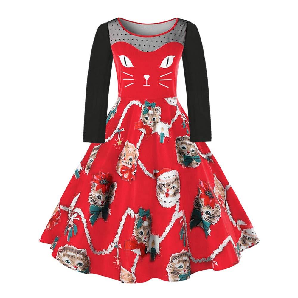 Hffan Damen Mädchen Große Größen Cat Karikaturdruck Weihnachtskleid Spitzennaht Kleiden Festlich Kleider Freizeitkleid Knielang Weihnachten Ärmellos A-Linie Kleid