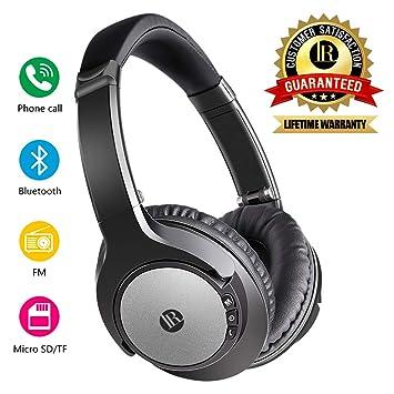 Auriculares Bluetooth Inalámbricos, Cascos Plegable con Cable, Auriculares de Diadema con Micrófono, Compatible con iPad iPhone Android (Negro): Amazon.es: ...