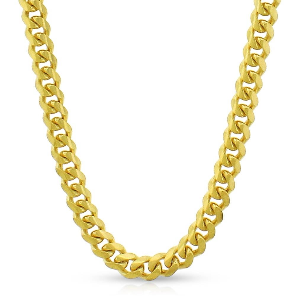 14k Yellow Gold 5mm Solid Miami Cuban Curb Link Thick Necklace Chain 20'' - 30'' (24)