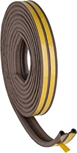 Weather Stripping for Doors and Windows, Self Adhesive D-Shape Indoor Insulation Kit, Sound Proofing Foam Seal Strip, 7/20-inch x 6/25-inch x 8-Feet, Brown (4 Seals)