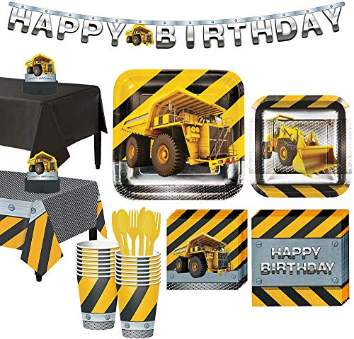 Party City Construction Zone Tableware Party Supplies for 16 Guests, Include Plates, Napkins, a Banner, and Decorations