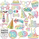 13th Birthday Photo Booth Props Kit For Teenage 13th Birthday Party Decorations Supplies -28 Counts