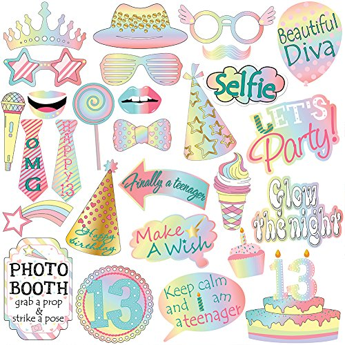 13th Birthday Photo Booth Props Kit For Teenage 13th Birthday Party Decorations Supplies -28 Counts by TMCCE