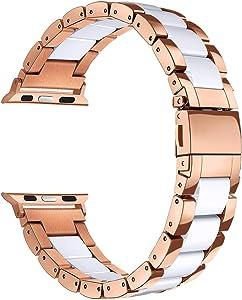 Mobile Advance Resin & Stainless Steel Band Bracelet for Apple Watch Series 6/SE/5/4/3/2/1 (White, 42mm/44mm)